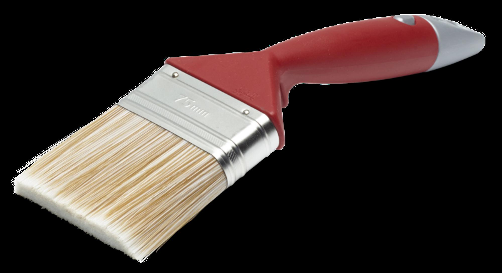 Vinklet bred pensel i rødt som brukes til grunning
